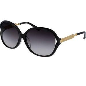 Gucci Sunglasses Black Gold w/Grey Gradient Lens